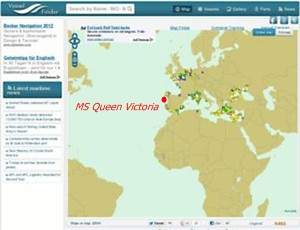 Cunard ms Queen Victoria ship position at VesselFinder COM